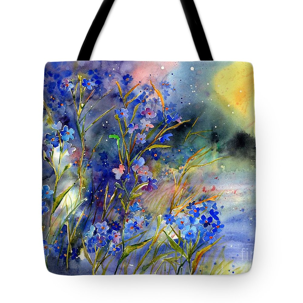 Cosmic Tote Bag featuring the painting Forget-me-not Watercolor by Suzann Sines