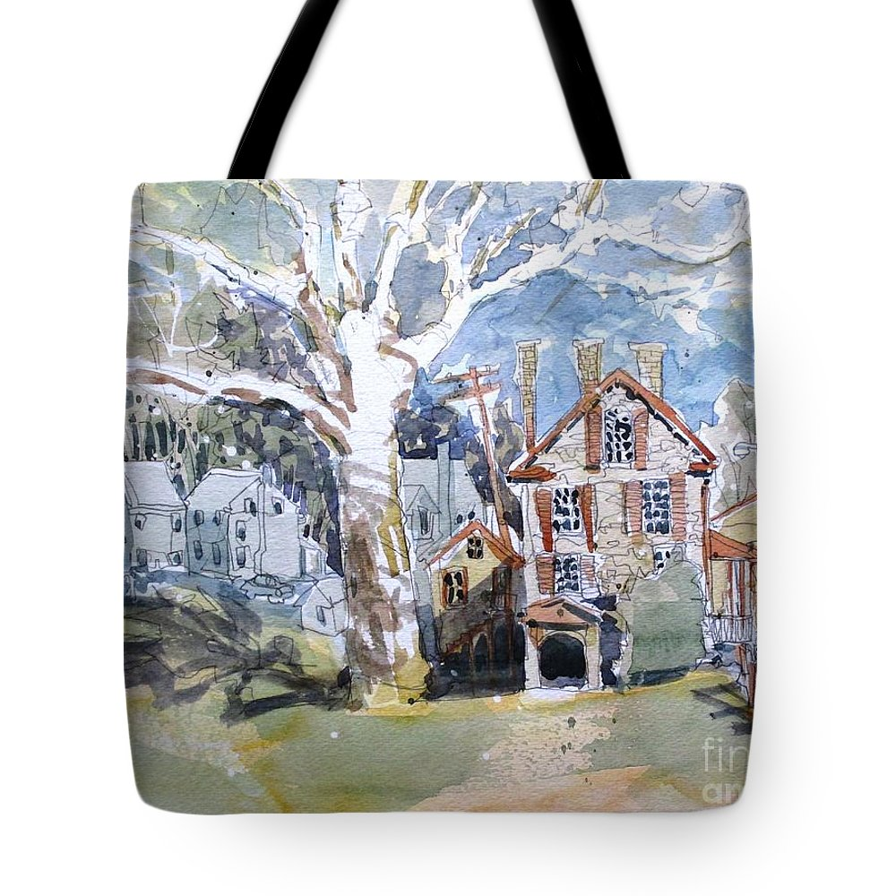 Fort Hunter Tote Bag featuring the painting Fort Hunter Sunshine by Larry Lerew
