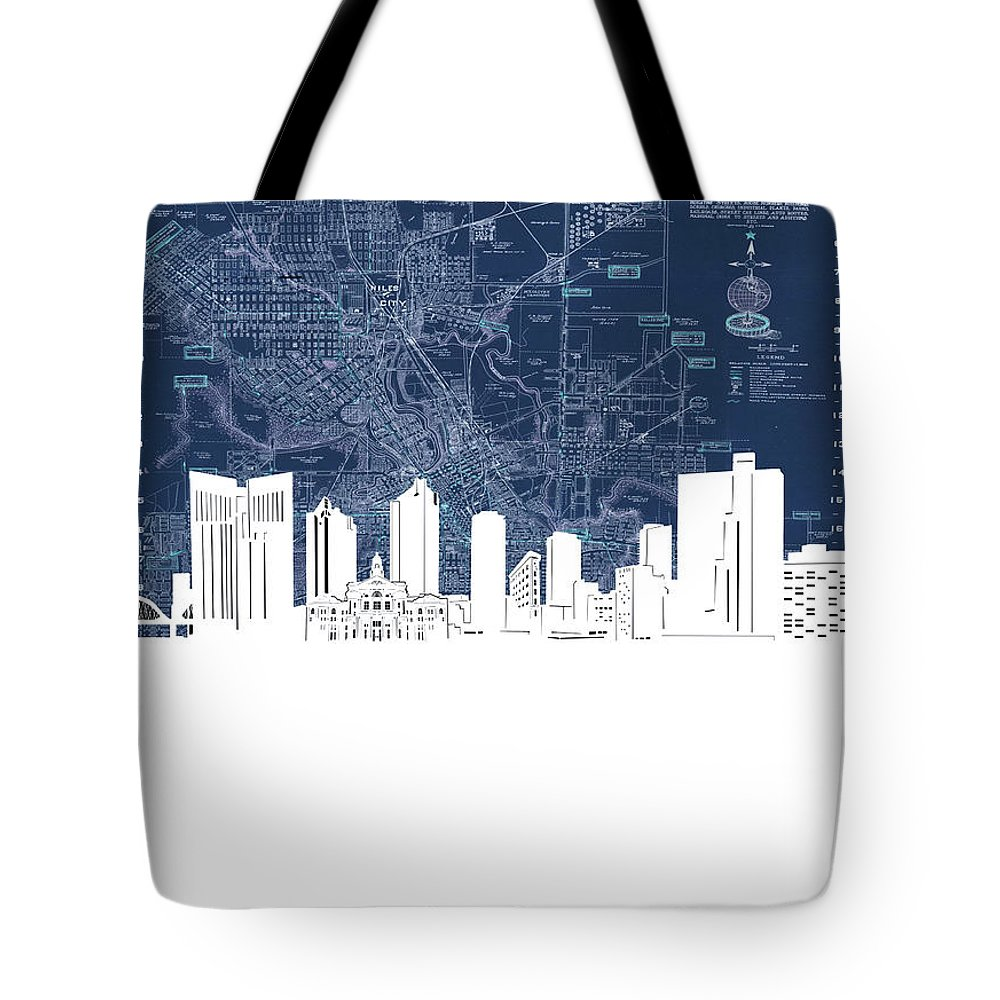 Fort Worth Tote Bag featuring the digital art Fort Worth Skyline Map Blue by Bekim M