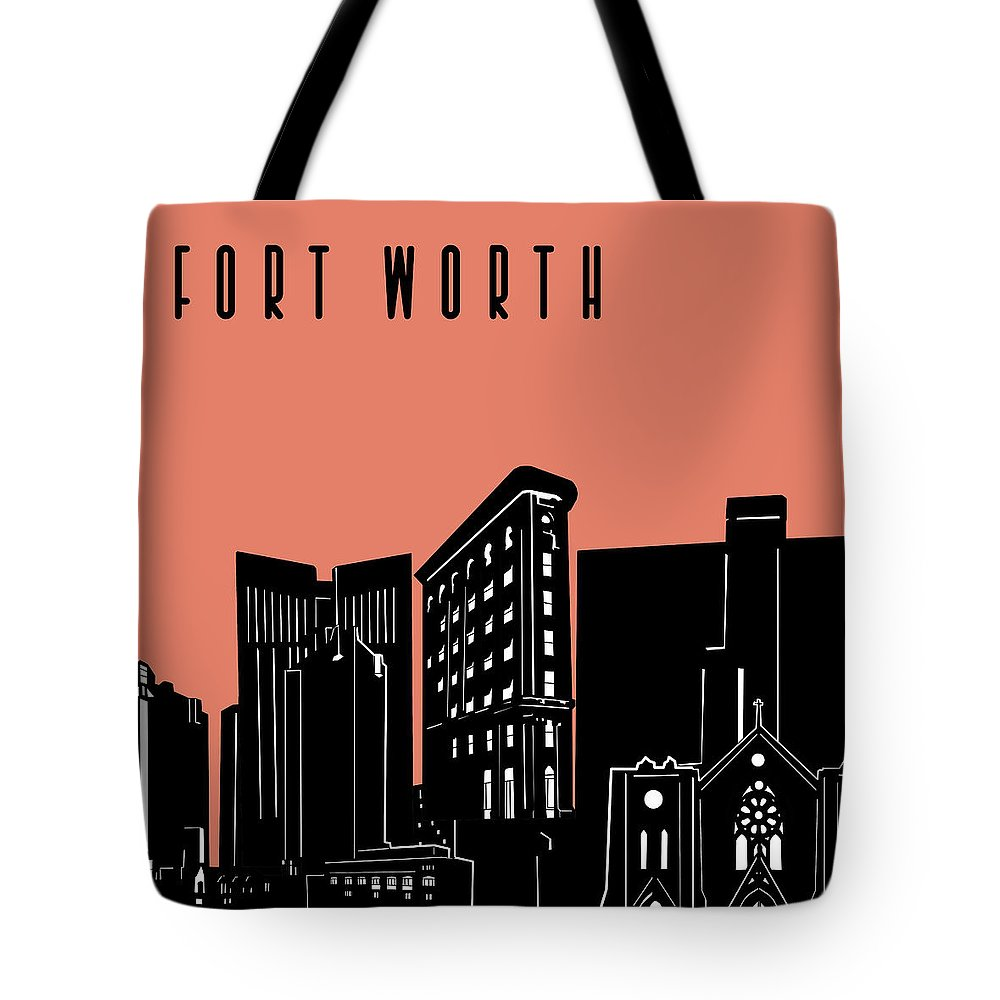Fort Worth Tote Bag featuring the digital art Fort Worth Skyline Panorama Red by Bekim Art