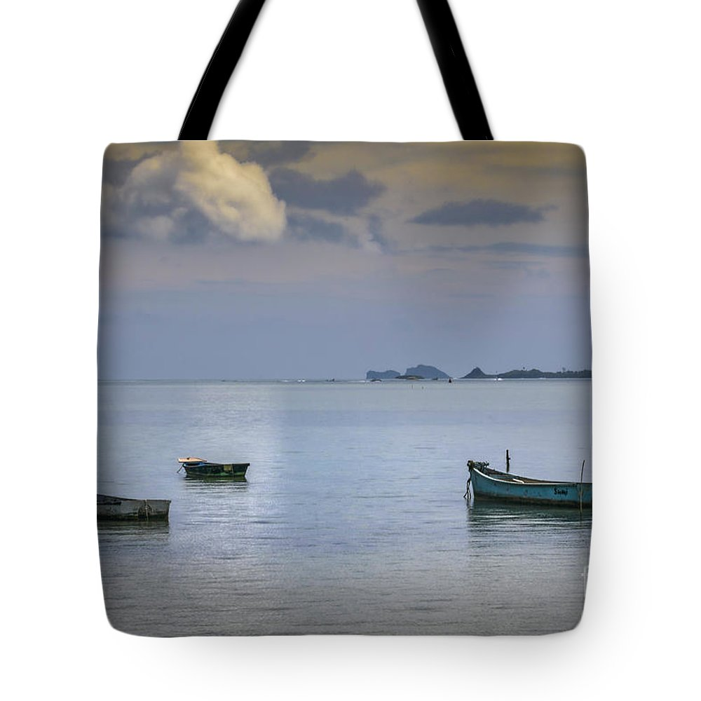 Four Boats Tote Bag featuring the photograph Four Boats by Mitch Shindelbower