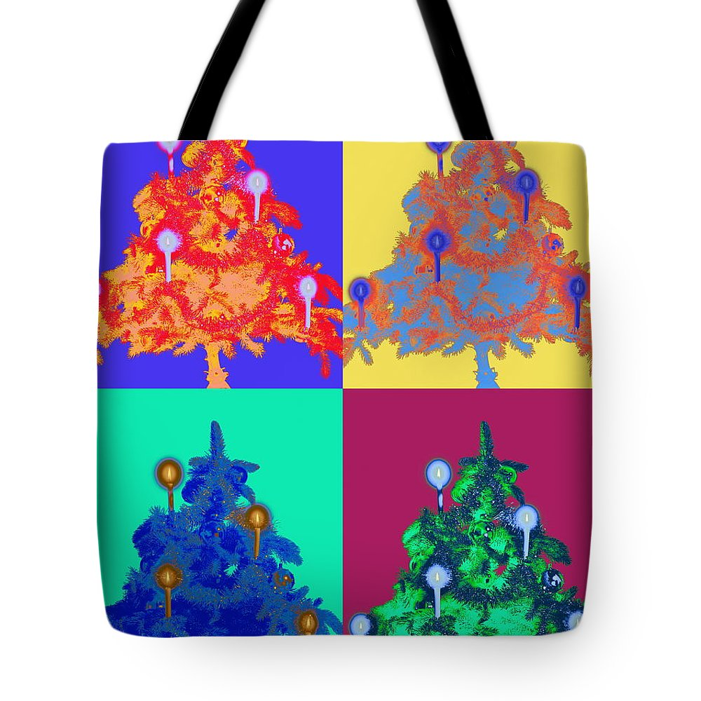 Celebration Tote Bag featuring the photograph Four Christmas Trees Decorated With by Peter Weber