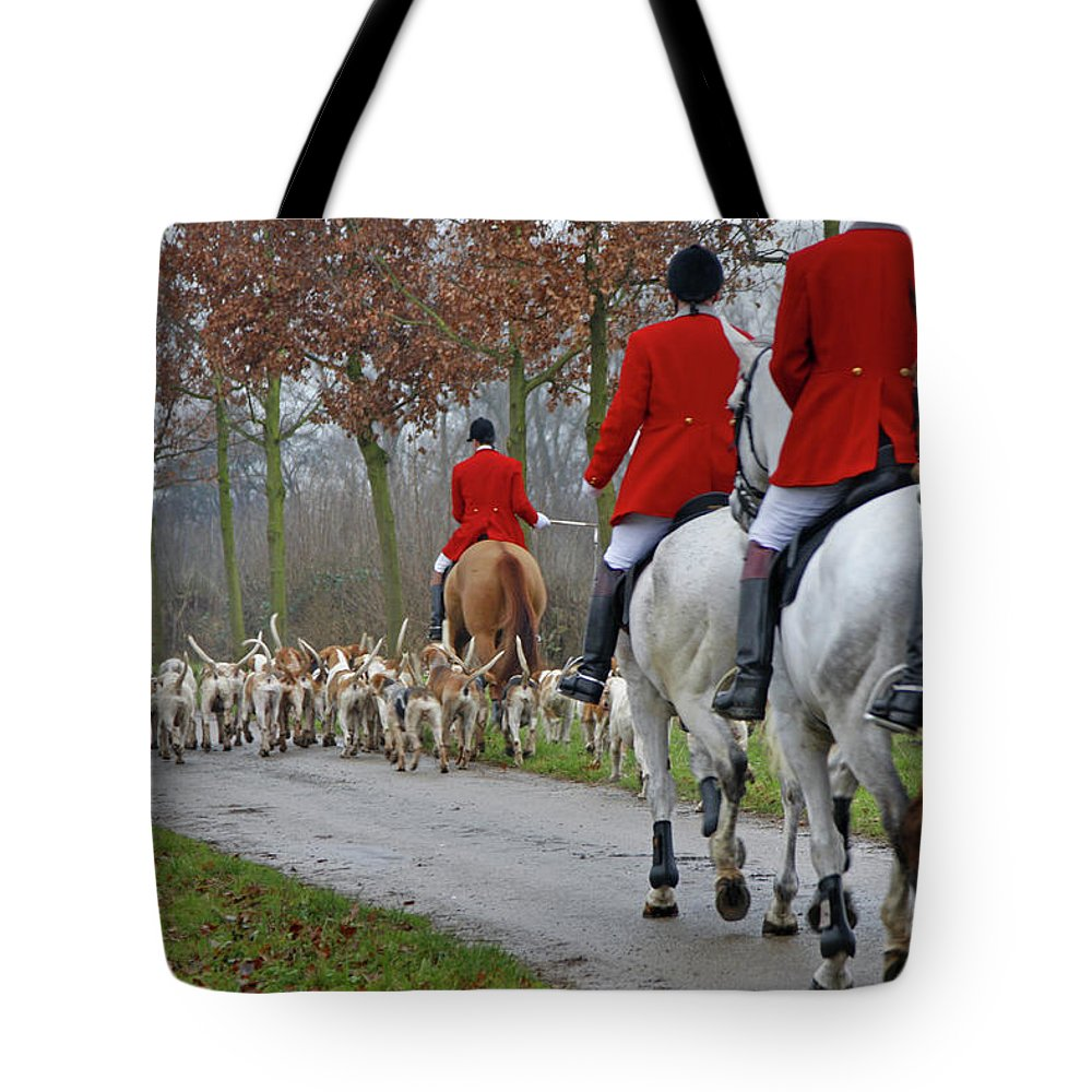 Horse Tote Bag featuring the photograph Fox Hunt 1 by Lya cattel