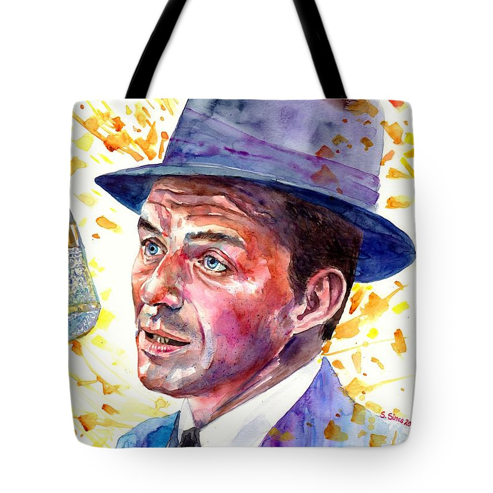 Frank Tote Bag featuring the painting Frank Sinatra Singing by Suzann Sines