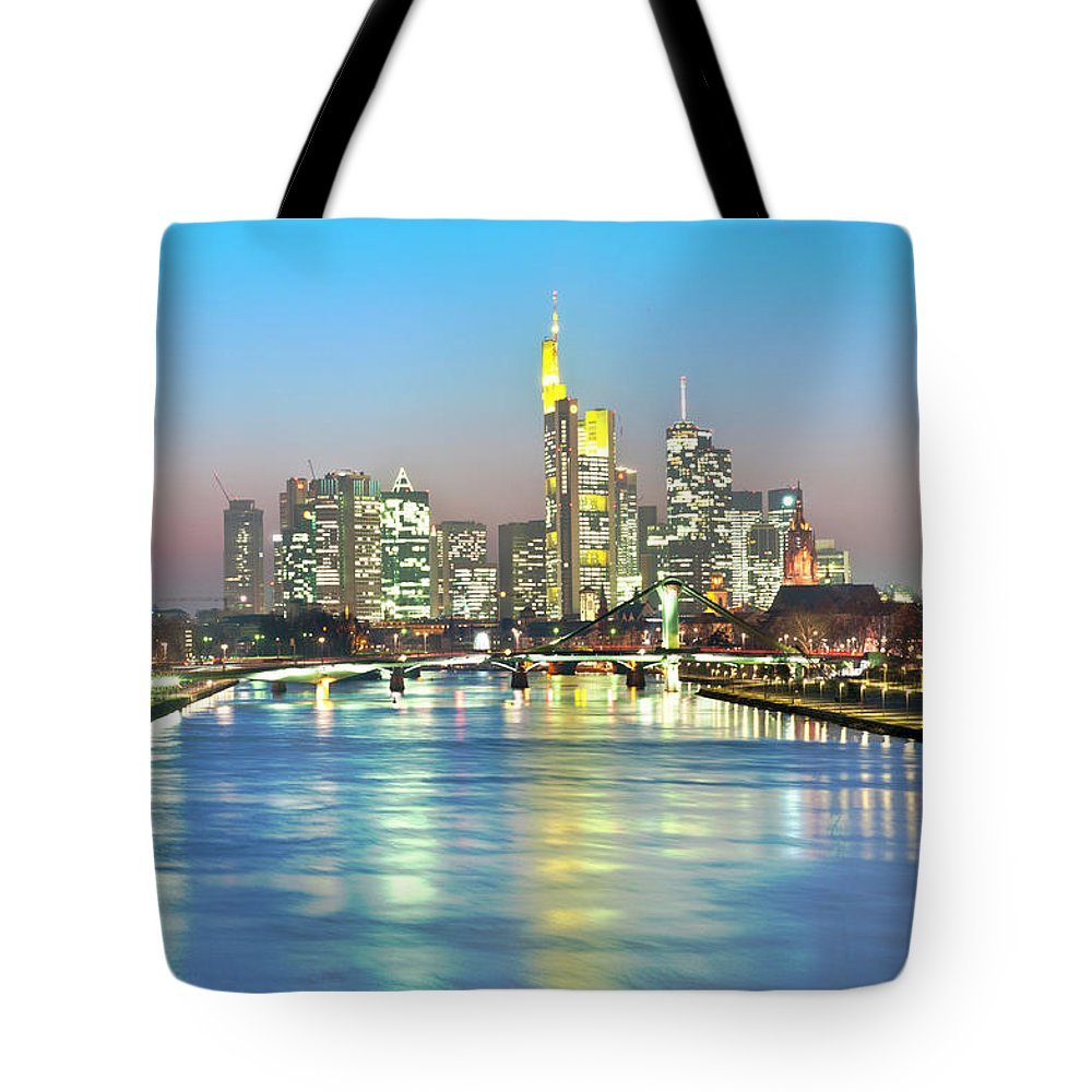 Hesse Tote Bag featuring the photograph Frankfurt Night Skyline by Ixefra