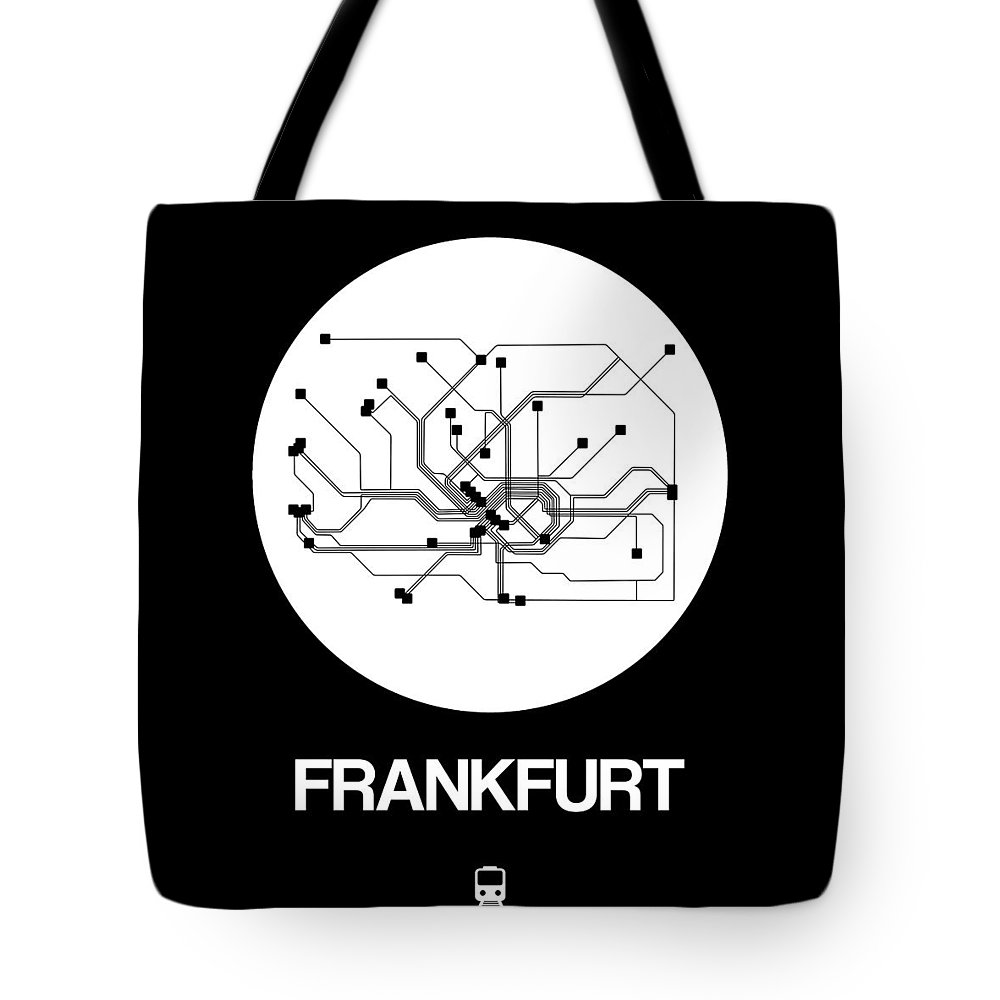 Vacation Tote Bag featuring the digital art Frankfurt White Subway Map by Naxart Studio
