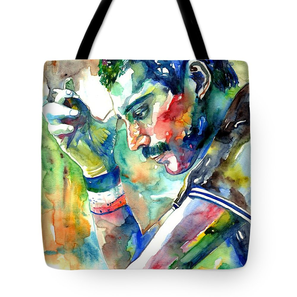 Freddie Mercury Tote Bag featuring the painting Freddie Mercury With Cigarette by Suzann Sines