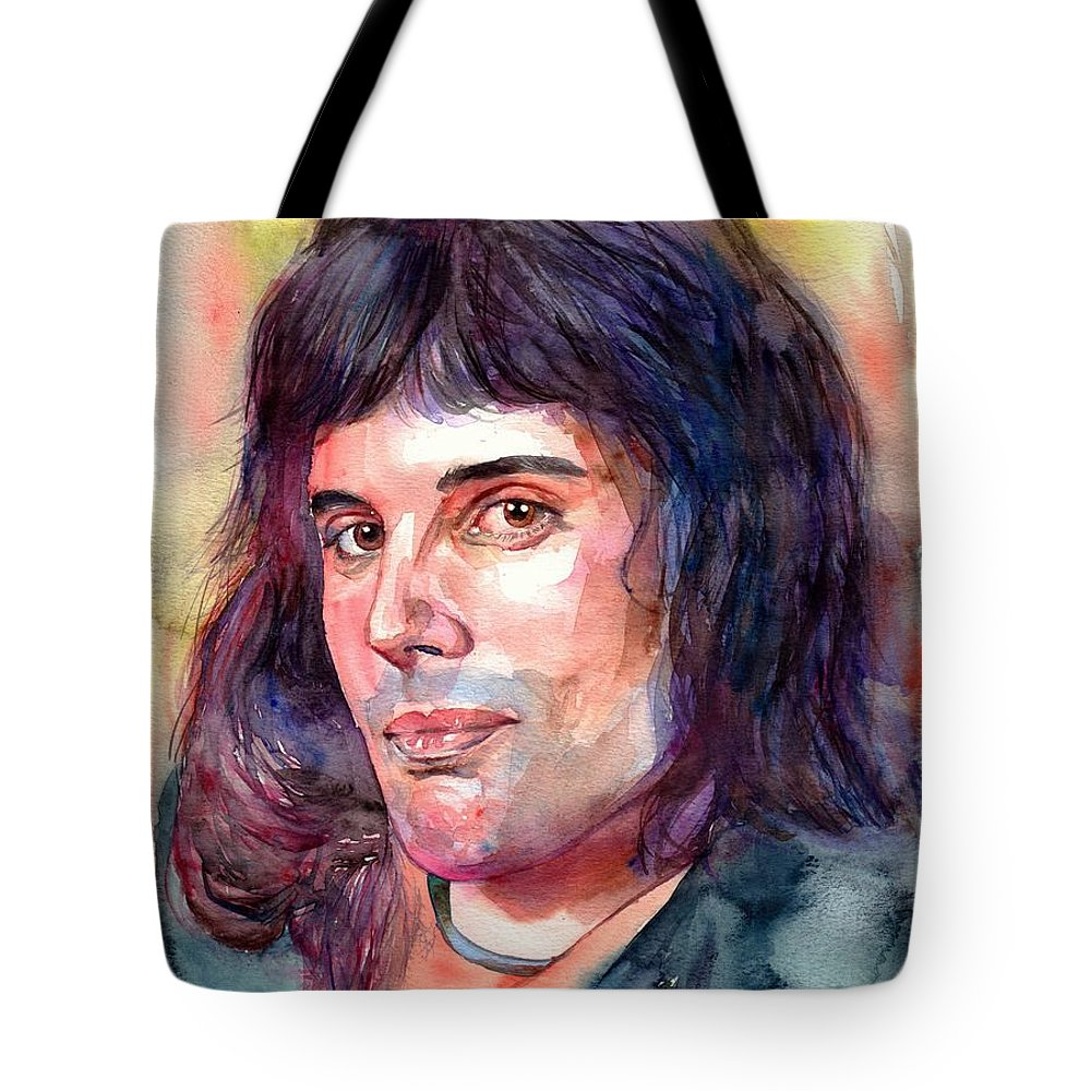 Freddie Mercury Tote Bag featuring the painting Freddie Mercury young by Suzann Sines