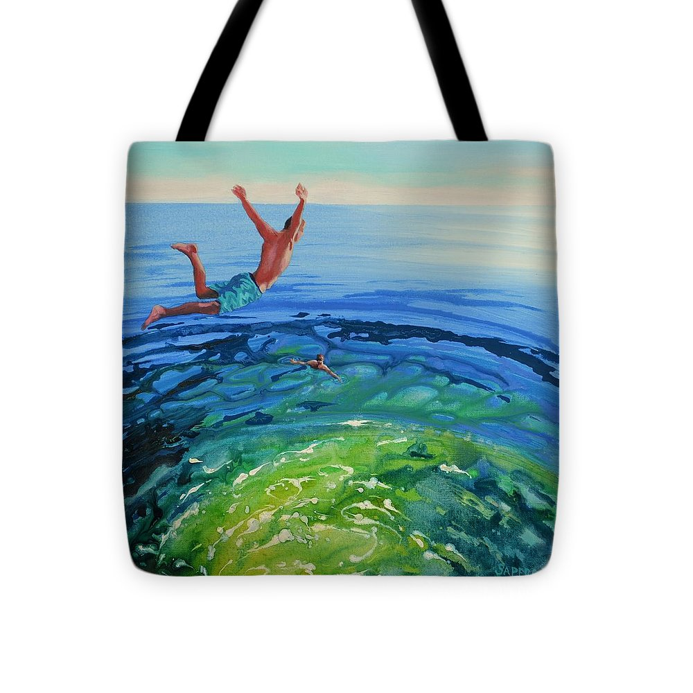 Lake Tote Bag featuring the painting Free Fallin' by Lynee Sapere