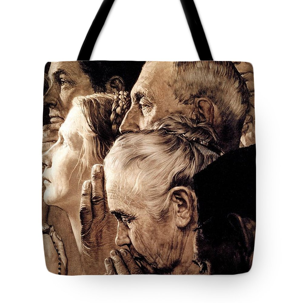 Praying Tote Bag featuring the drawing Freedom Of Worship by Norman Rockwell