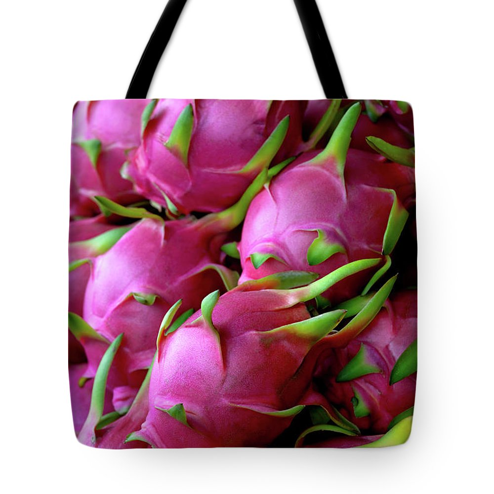 Thailand Tote Bag featuring the photograph Fresh Dragon Fruit For Sale In A Thai by Enviromantic