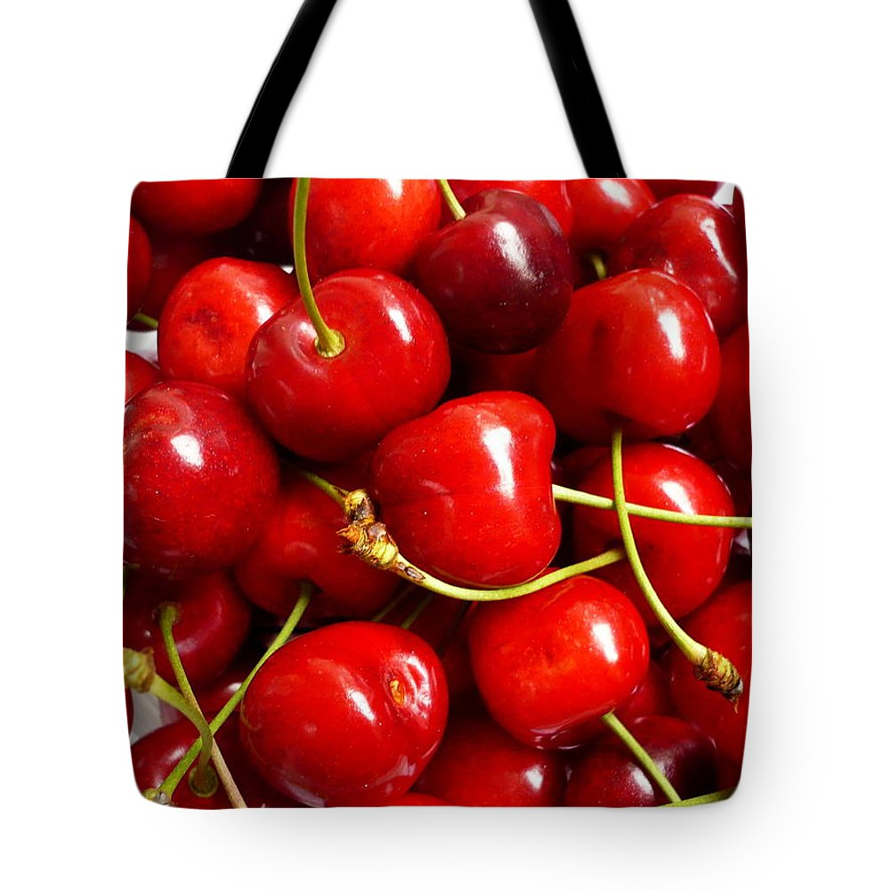 Cherry Tote Bag featuring the photograph Fresh Red Cherries by Vienna Mornings