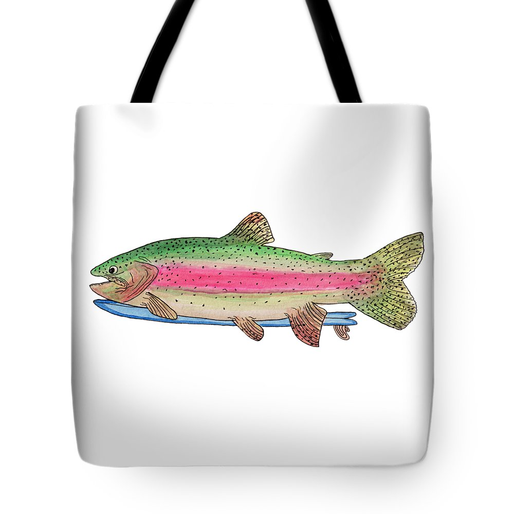 Trout Tote Bag featuring the painting Rainbow Trout On A Fish by Tate MacDowell