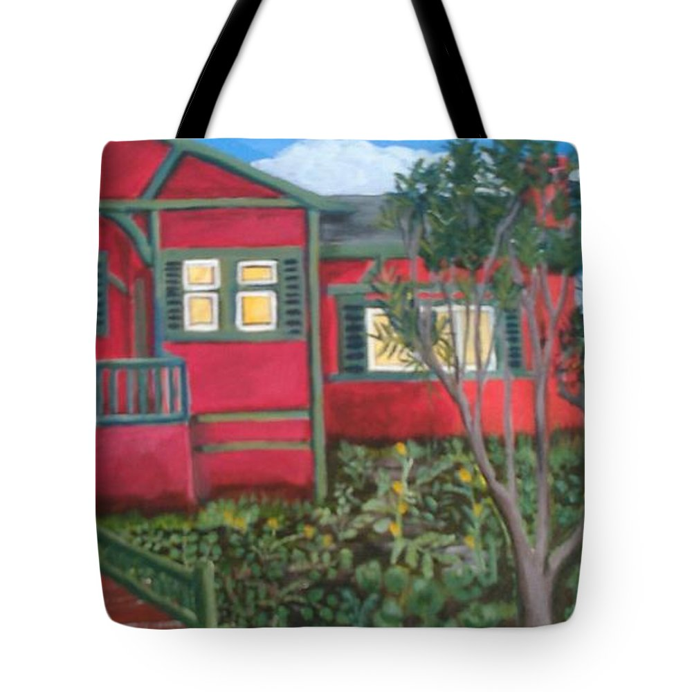 Painting Of House Tote Bag featuring the painting Fresh yard by Andrew Johnson