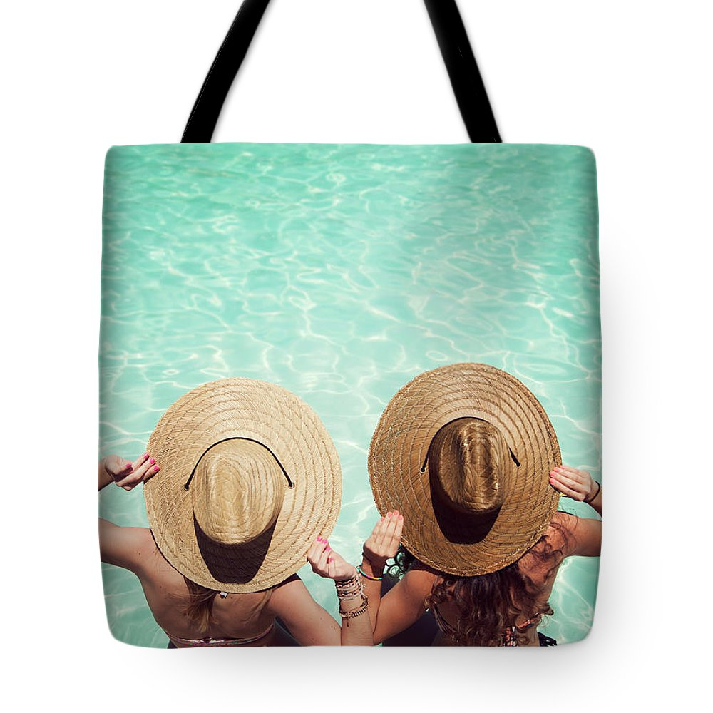 Fedora Tote Bag featuring the photograph Friends By The Pool by Becon