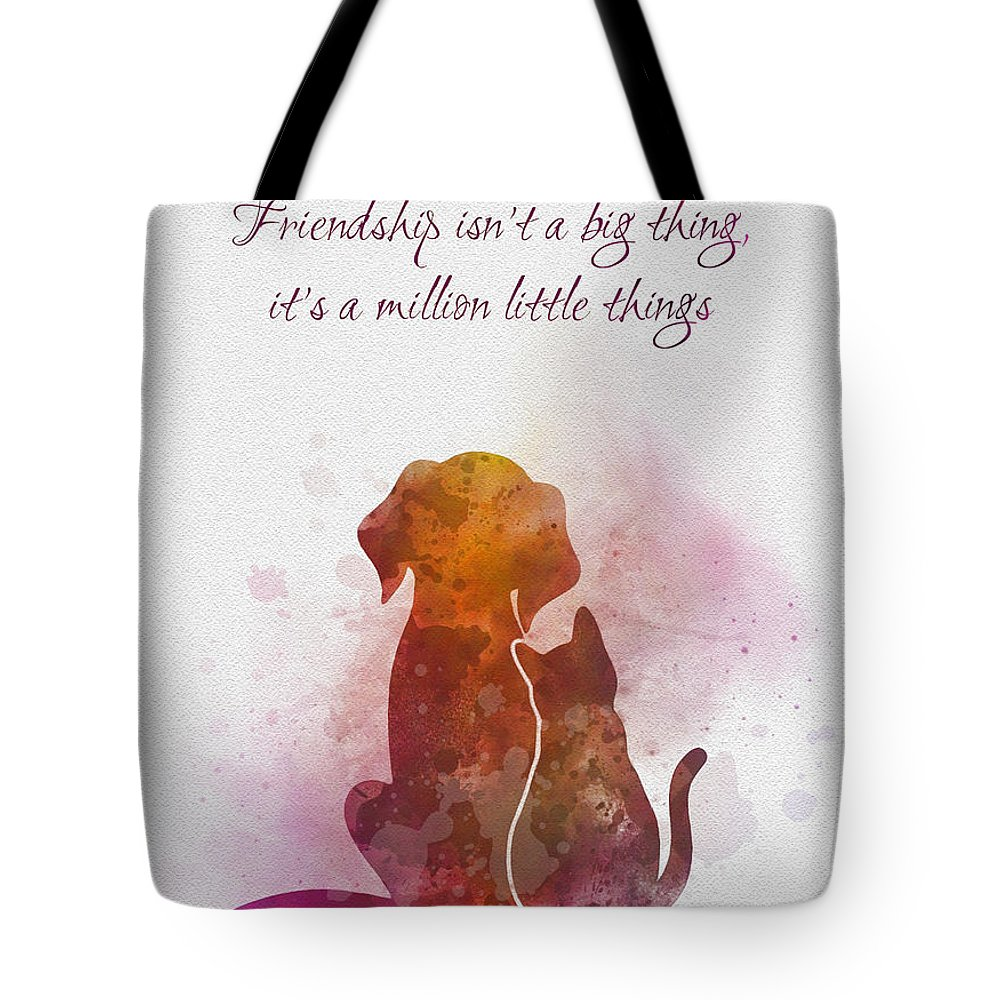 Friendship Tote Bag featuring the mixed media Friendship by My Inspiration