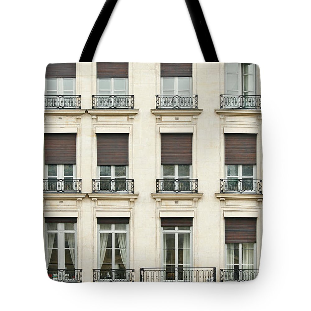 Apartment Tote Bag featuring the photograph Front View Of Paris Architecture by S. Greg Panosian