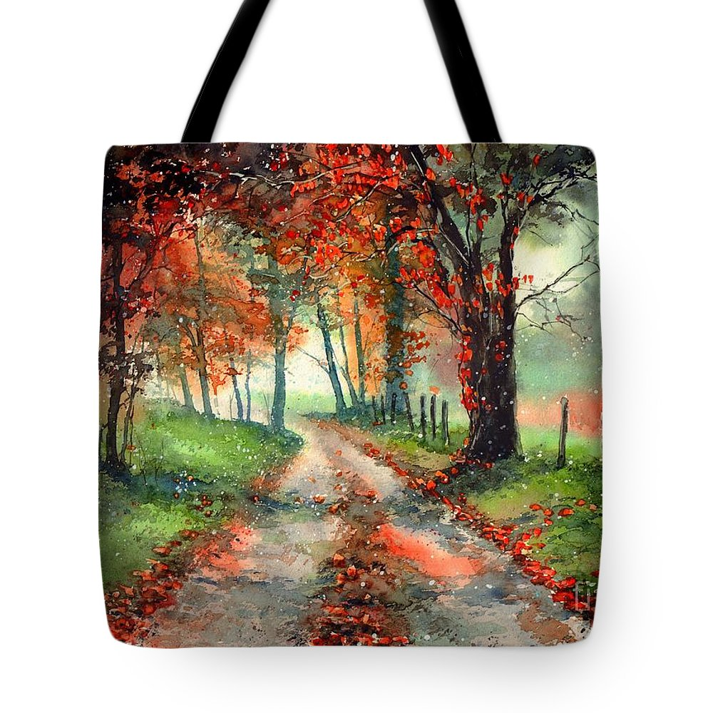 Indian Summer Tote Bag featuring the painting Frosty Autumn Patch by Suzann Sines
