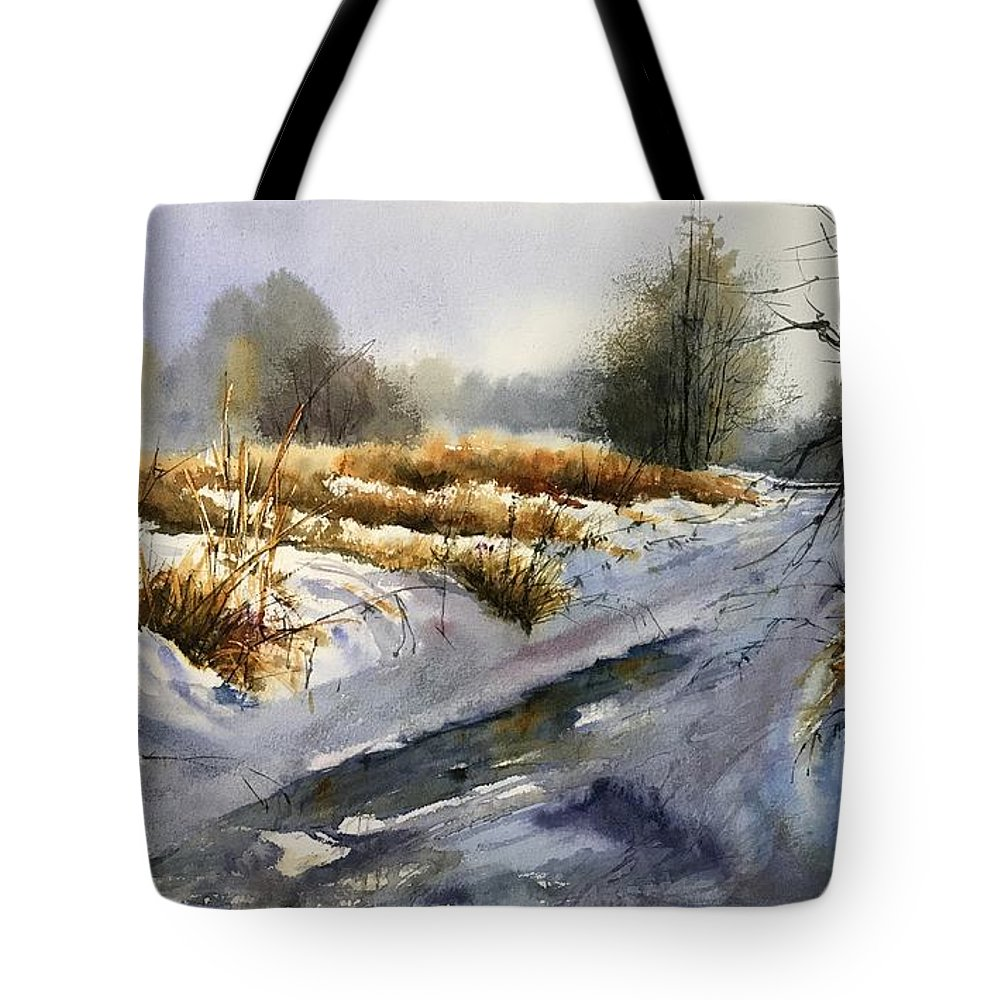 Winter Tote Bag featuring the painting Frozen Brook by Suzann Sines