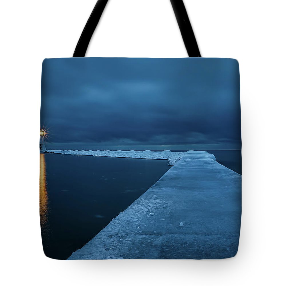 Tranquility Tote Bag featuring the photograph Frozen Path by John Fan Photography