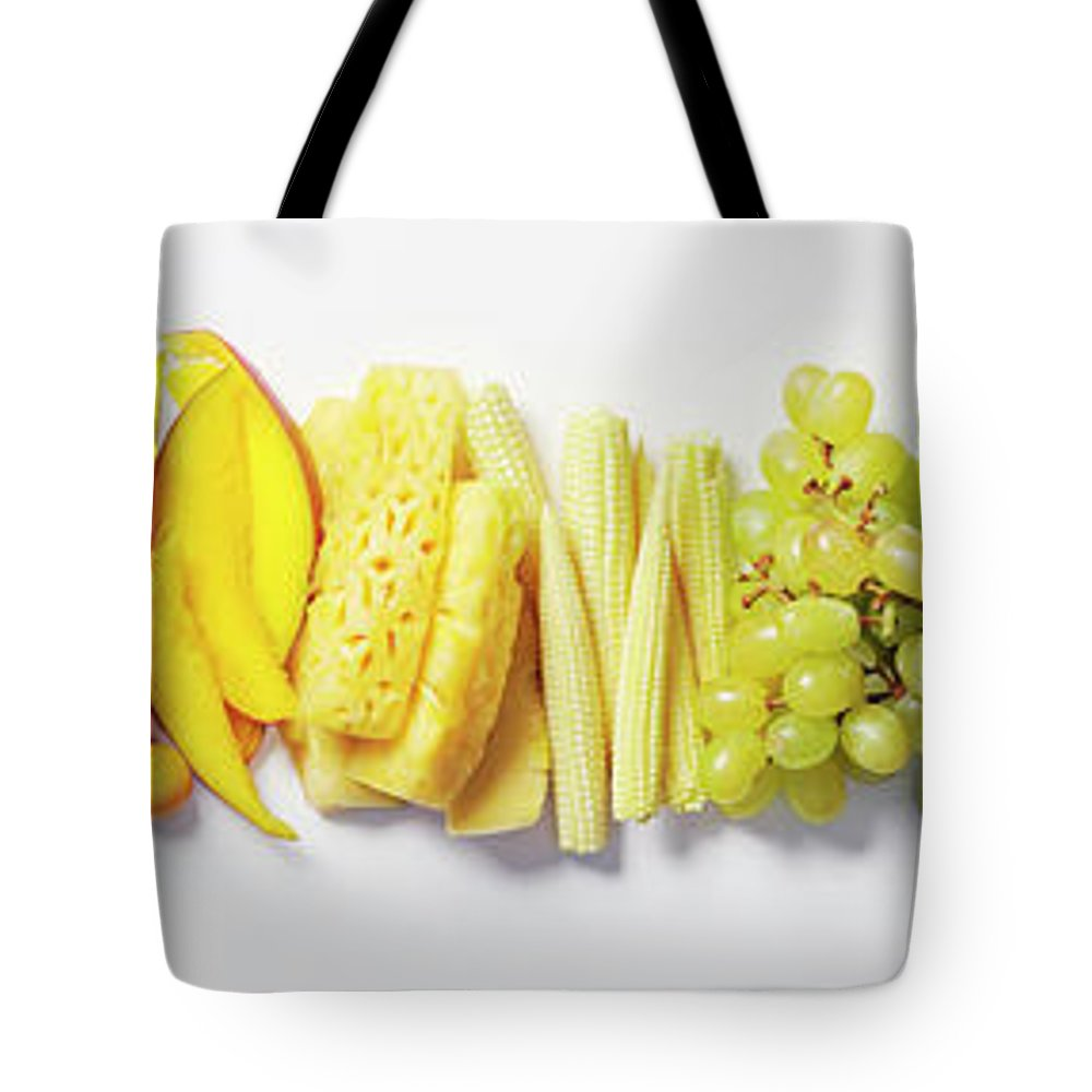 Cherry Tote Bag featuring the photograph Fruit & Vegetable Color Wheel by David Malan