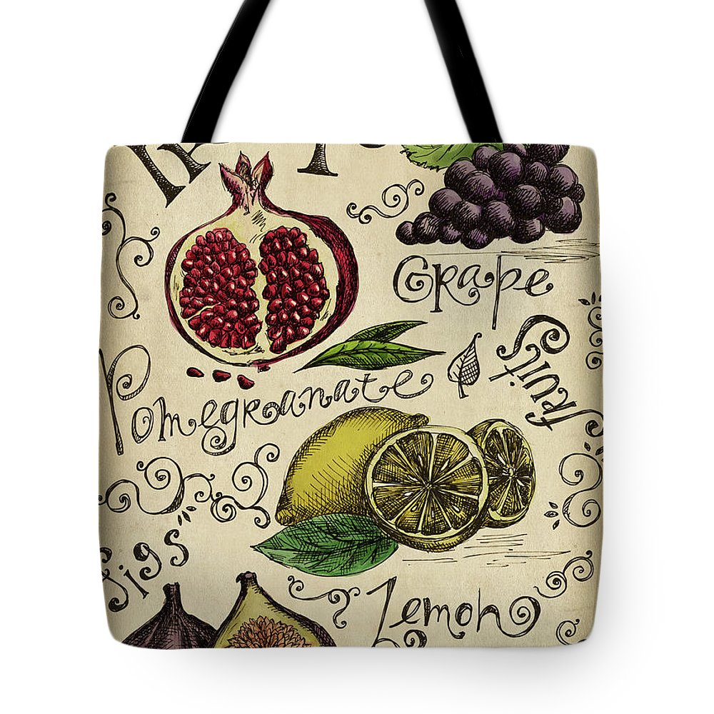Doodle Tote Bag featuring the digital art Fruits by Kalistratova