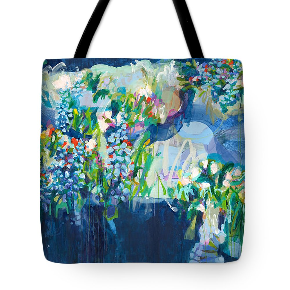 Abstract Tote Bag featuring the painting Full Bloom by Claire Desjardins