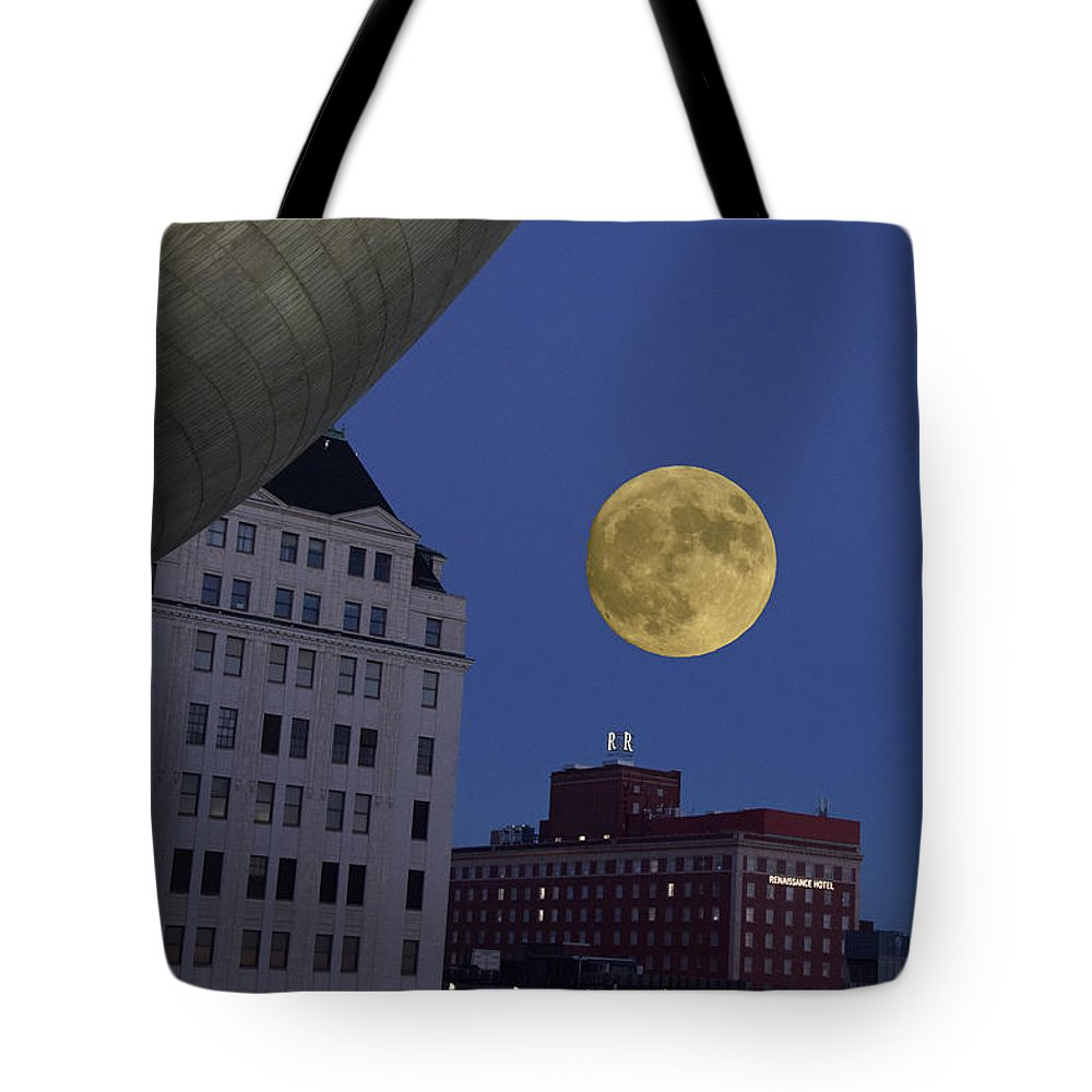 Photography Tote Bag featuring the photograph Full Moon At The Plaza by Jeffrey PERKINS