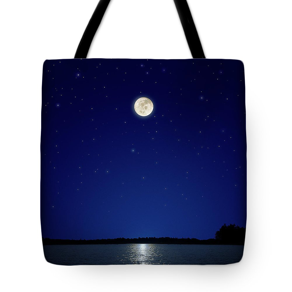 Constellation Tote Bag featuring the photograph Full Moon Over New Hampshire by Soubrette