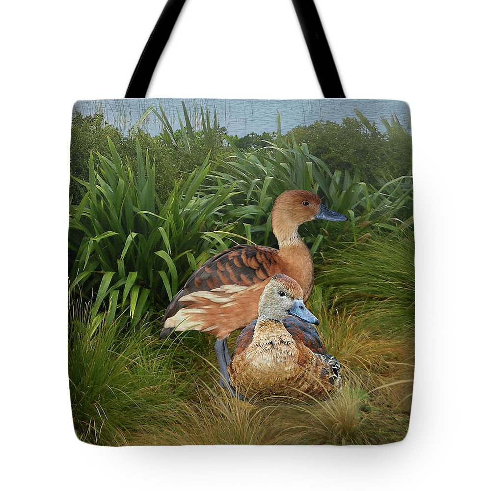 Duck Tote Bag featuring the digital art Fulvous Whistling Ducks by Spadecaller