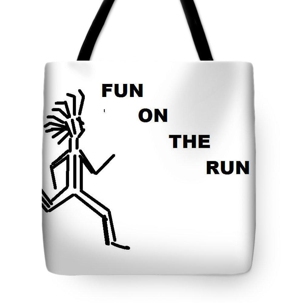 Drawingart Tote Bag featuring the drawing Fun on the RuN by Andrew Johnson