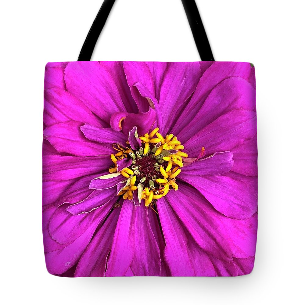Fuschia Bloom Tote Bag featuring the digital art Fuschia Bloom by Cindy Greenstein