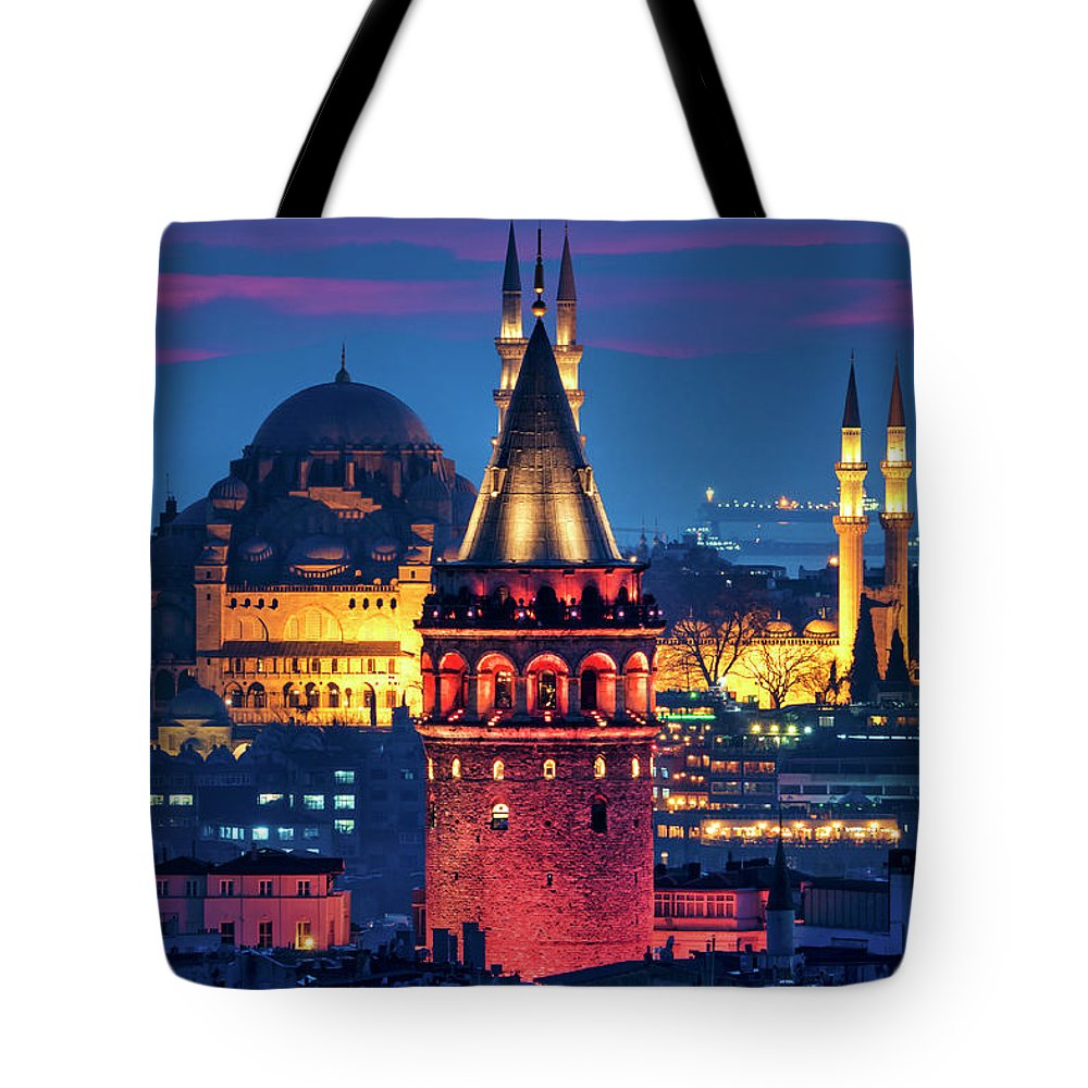 Galata Tote Bag featuring the photograph Galata Tower And Suleymaniye Mosque by Fabrizio Troiani