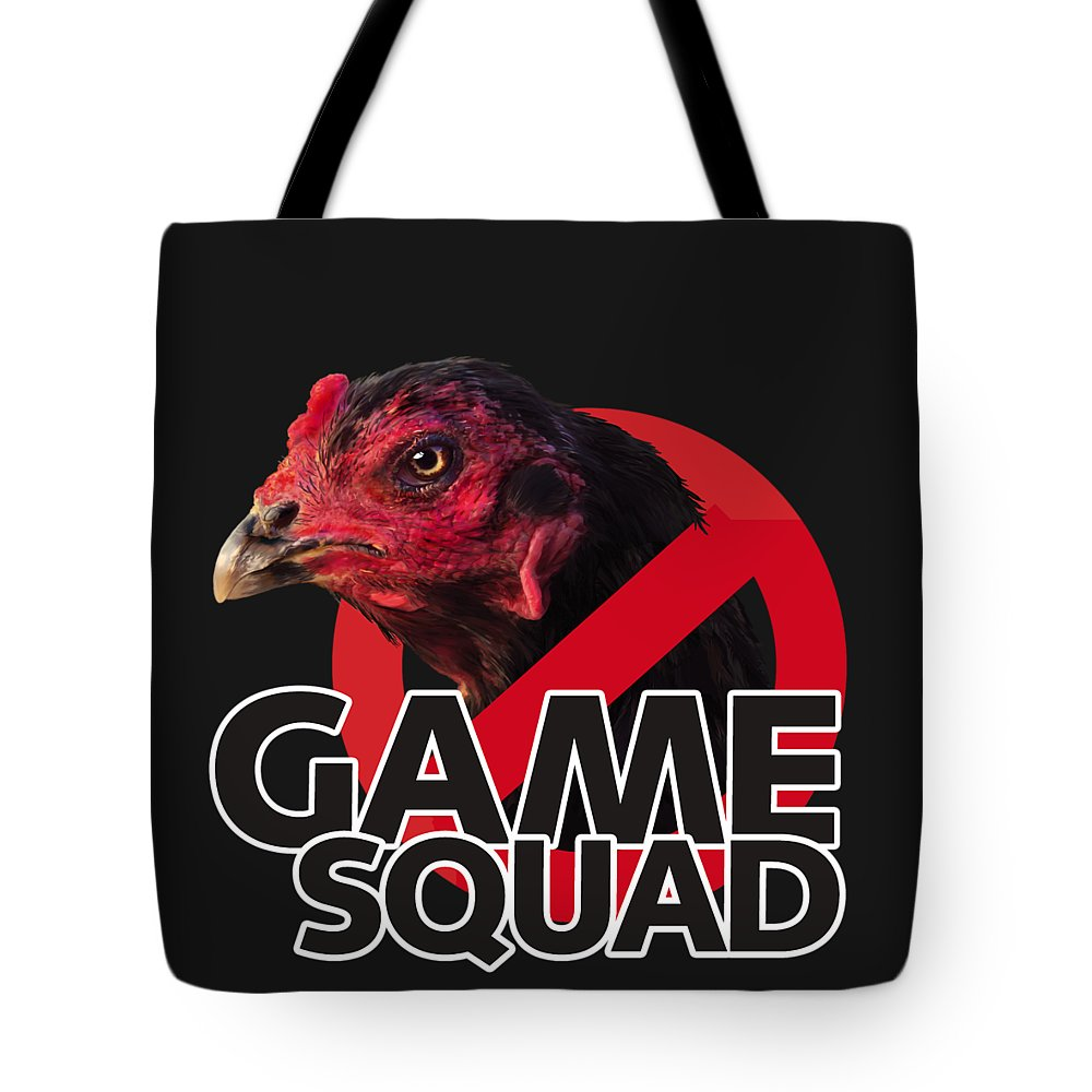 Chicken Poultry Game Thug Mean Tote Bag featuring the digital art Game Squad by Sigrid Van Dort