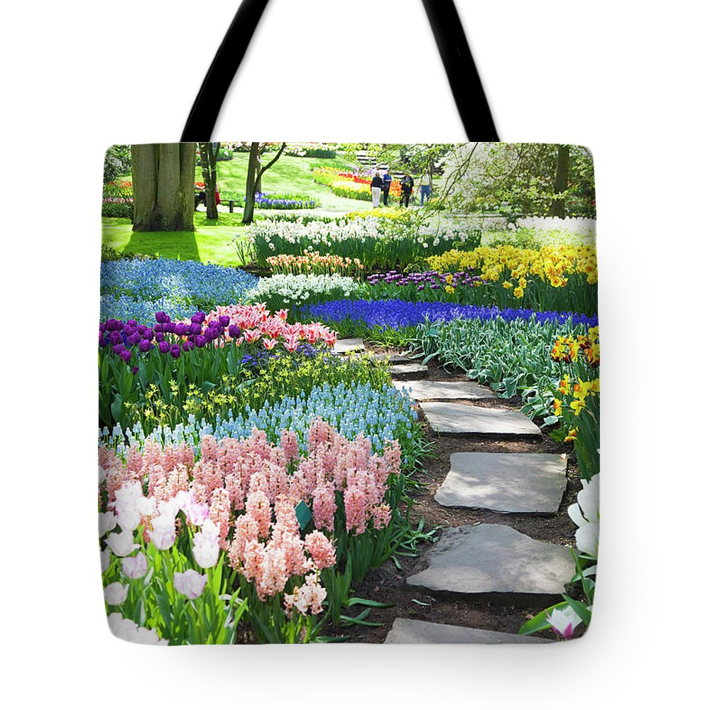 Flowerbed Tote Bag featuring the photograph Garden Flowers 53 Xxxl by Lya cattel