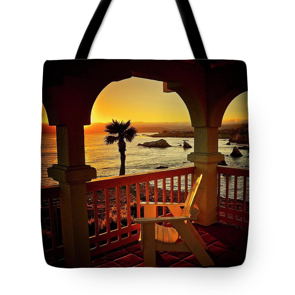 Nature Tote Bag featuring the photograph Gazebo View of Central California Coast by Zayne Diamond Photographic