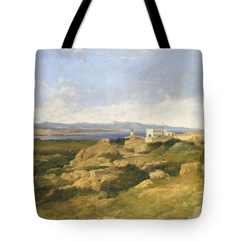 Frederick Richard Lee Tote Bag featuring the painting General Garibaldi S Residence At Caprera by Frederick Richard Lee