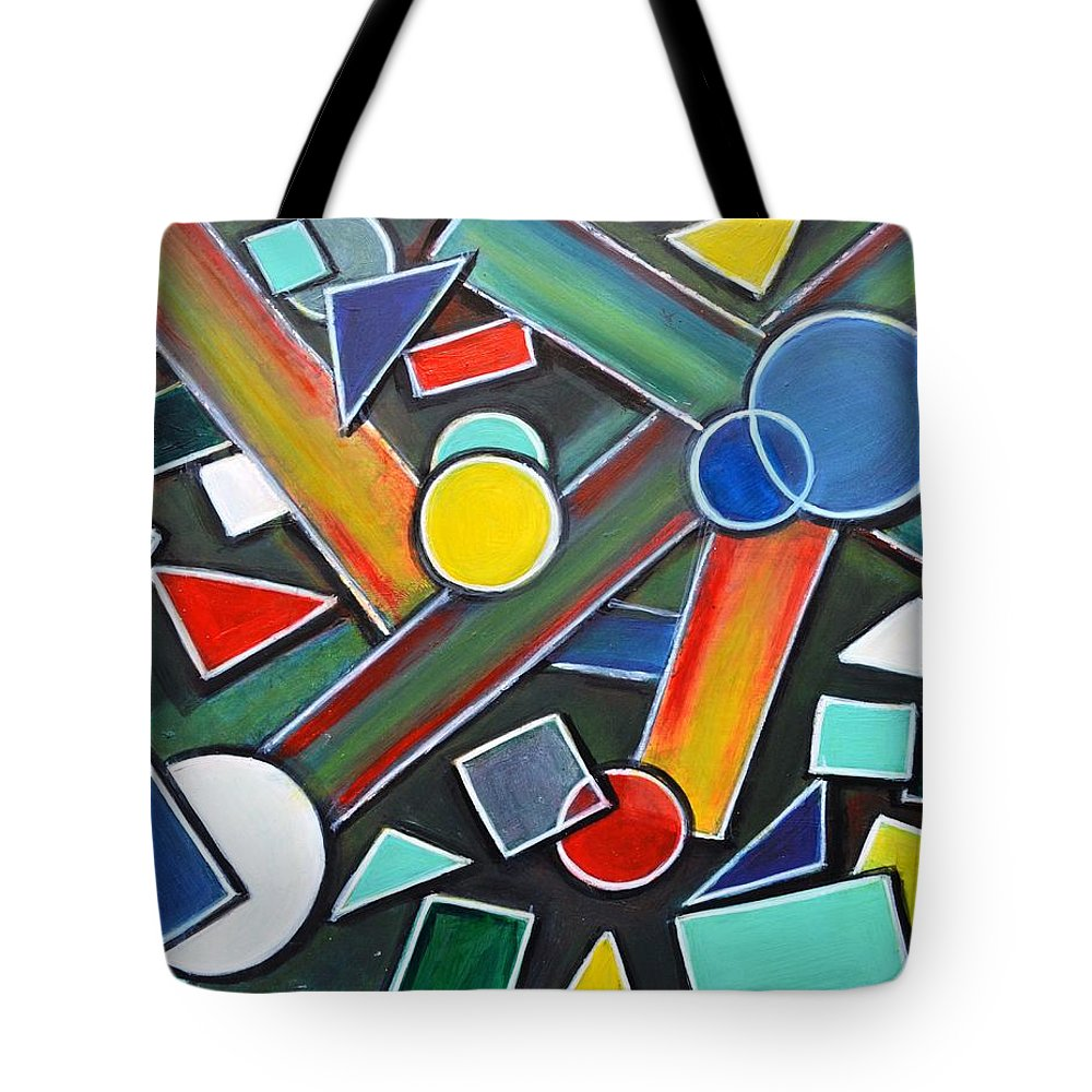 Geometricpainting Tote Bag featuring the painting Geometric Abstract painting by Manjiri Kanvinde