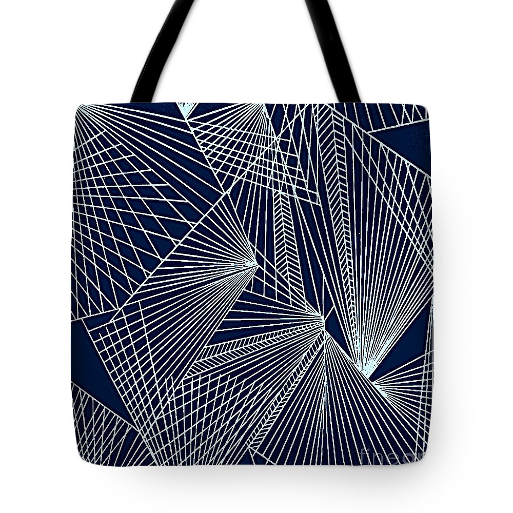 Geometric Patterns Tote Bag featuring the painting Geometric Pattern 1-colour-2 by Katerina Stamatelos