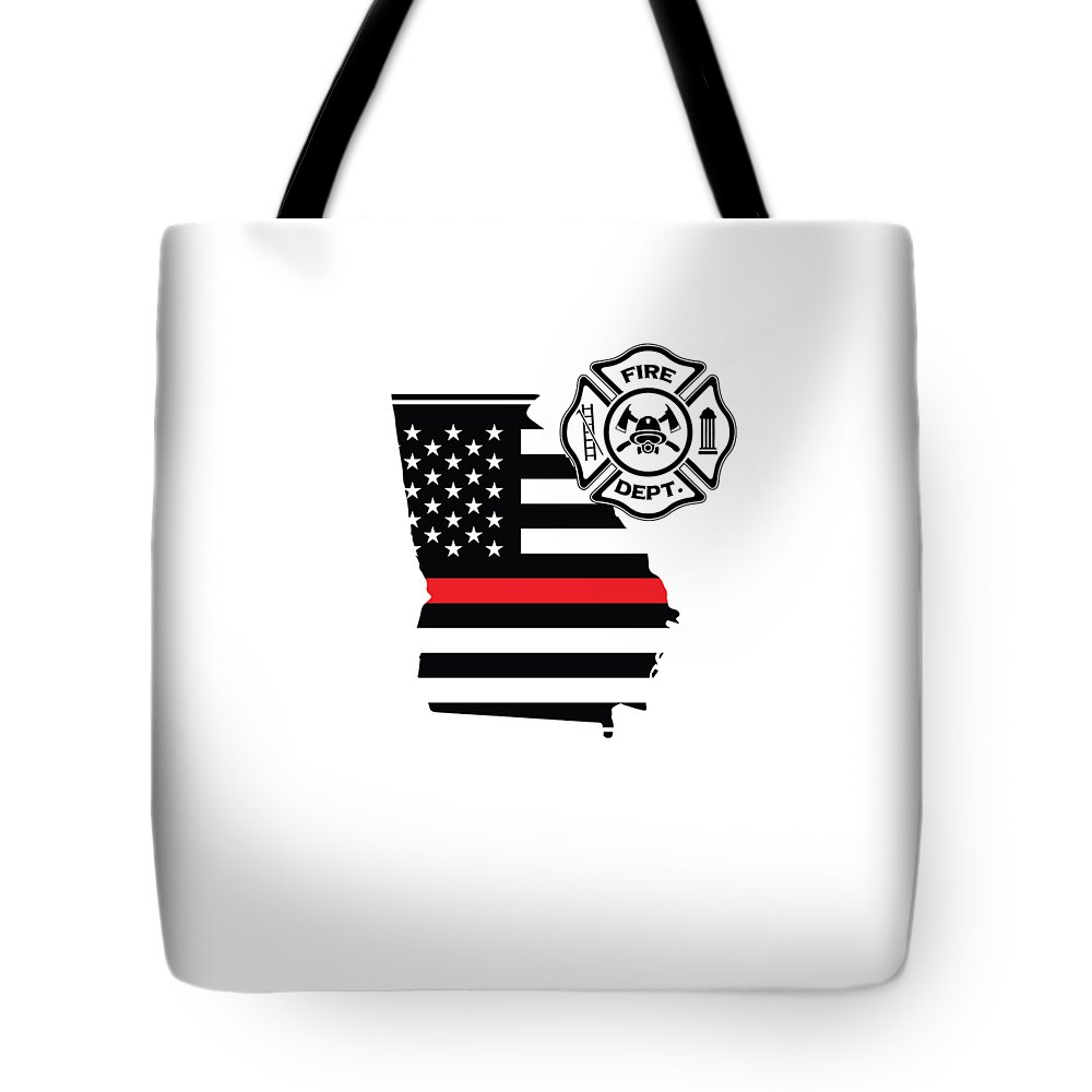 Firefighter-appreciation Tote Bag featuring the digital art Georgia Firefighter Shield Thin Red Line Flag by The French Seller