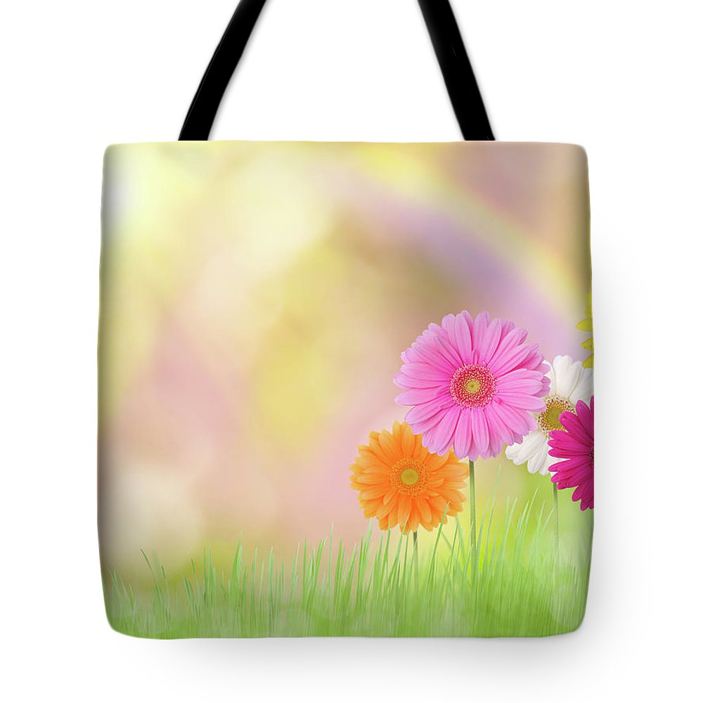 Grass Tote Bag featuring the photograph Gerbera Daisies In A Field With Rainbow by Liliboas
