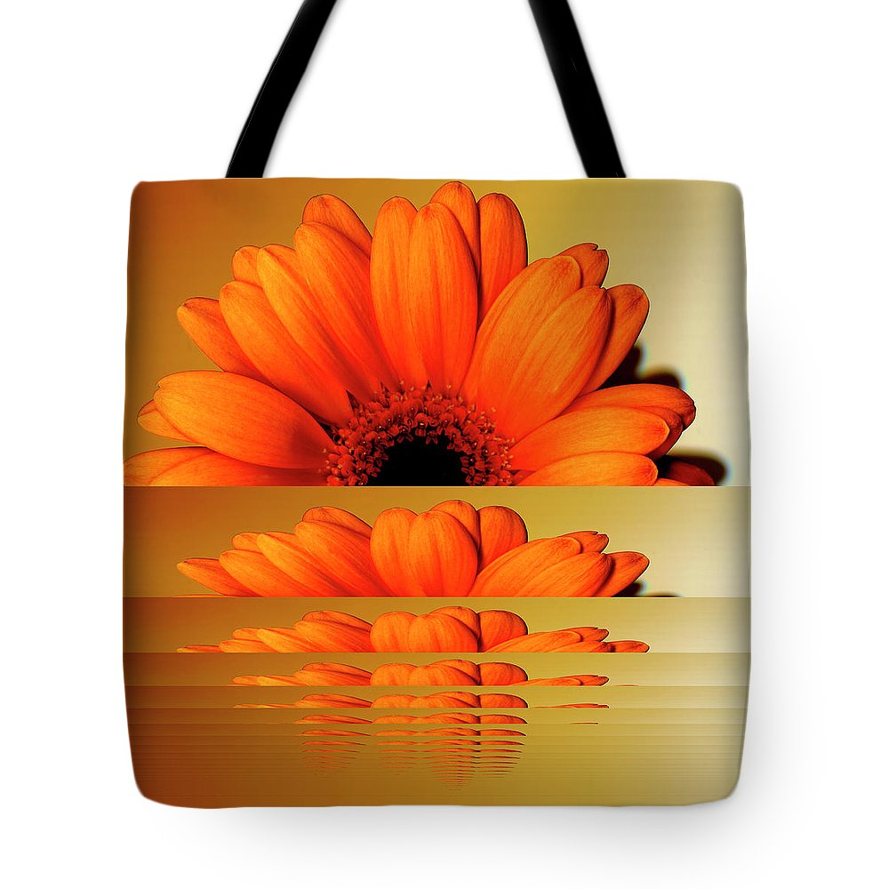 Orange Color Tote Bag featuring the digital art Gerbera Flower As Rising Sun by Eversofine