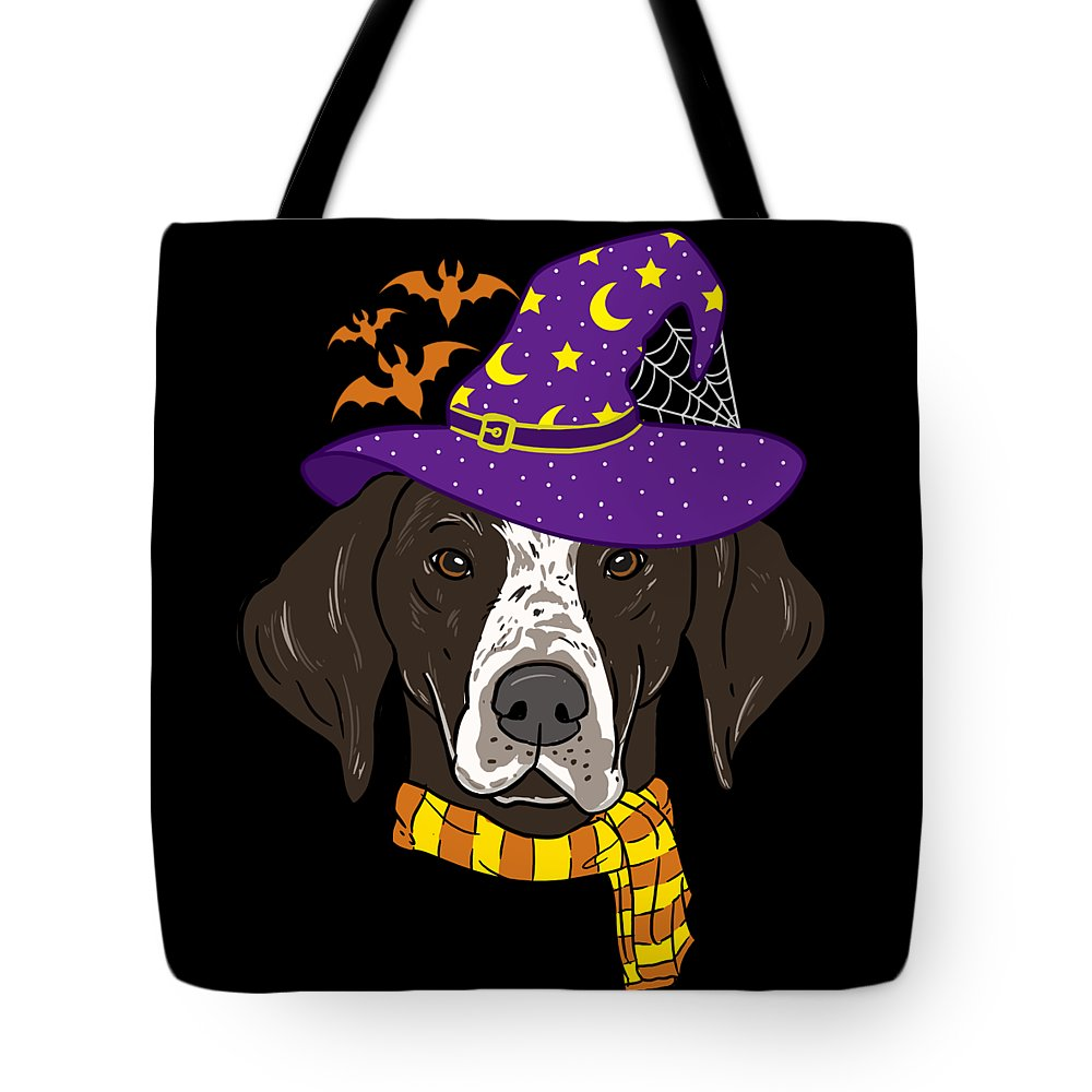 Magic Tote Bag featuring the digital art German Shorthair Halloween Witch Hat Flying Bats by TeeQueen2603