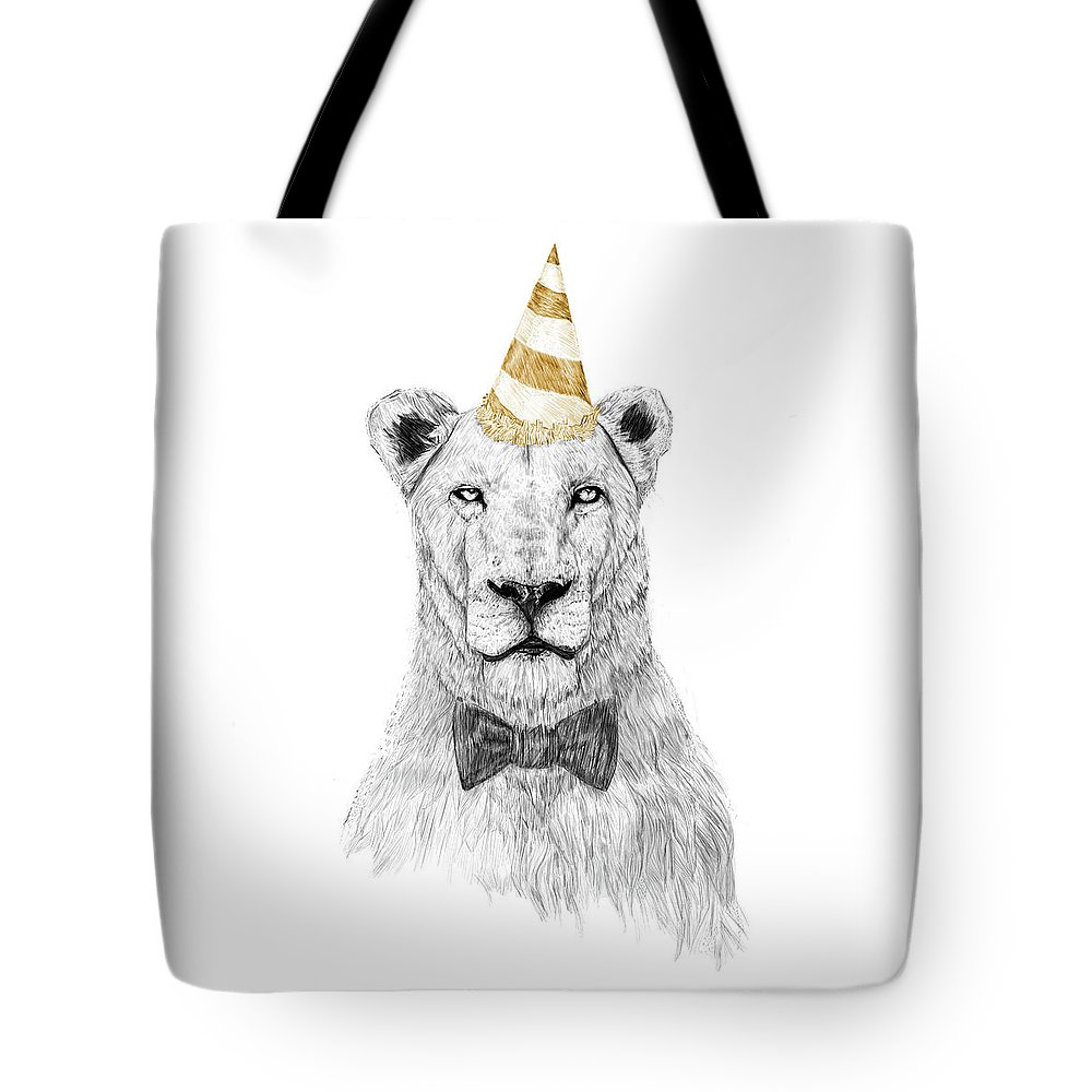 Lion Tote Bag featuring the drawing Get the party started by Balazs Solti