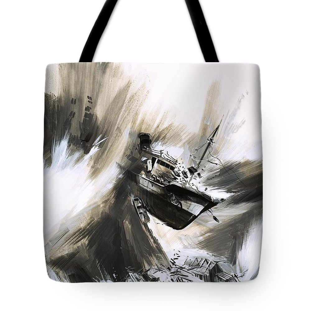Crash Tote Bag featuring the painting Giant Waves Called Tsunamis Spread From An Underwater Earthquake by Gerry Wood