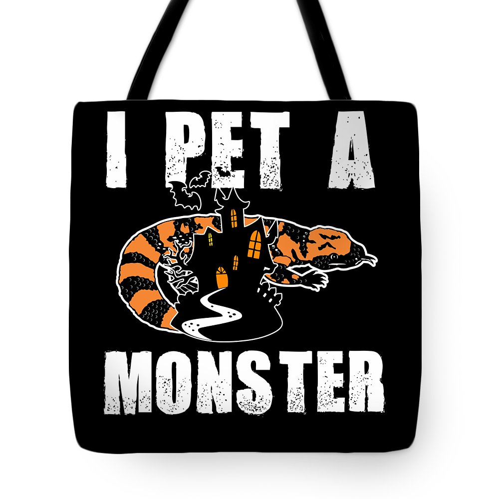Halloween Tote Bag featuring the digital art Gila Monster Halloween Venomous Lizard Pet Owner Dark by Nikita Goel