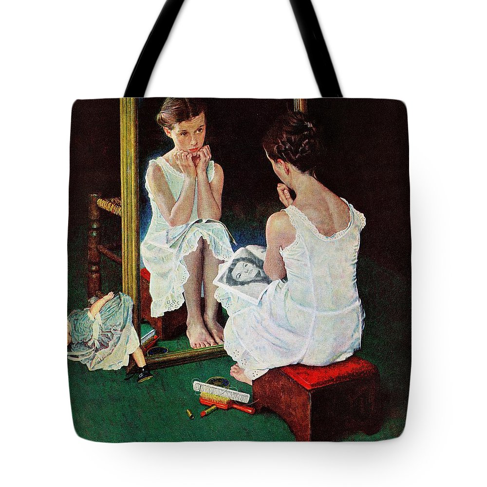 Actresses Tote Bag featuring the drawing Girl At The Mirror by Norman Rockwell