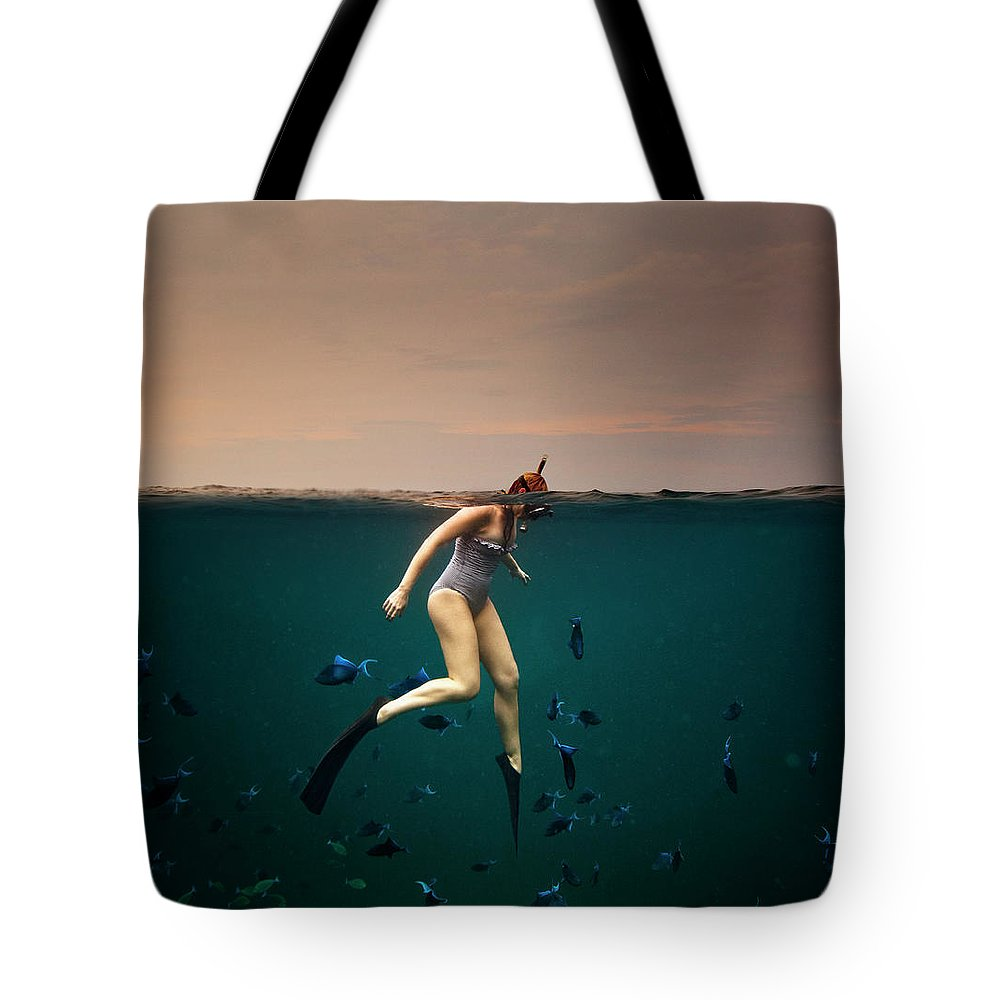 People Tote Bag featuring the photograph Girl Snorkelling by Rjw