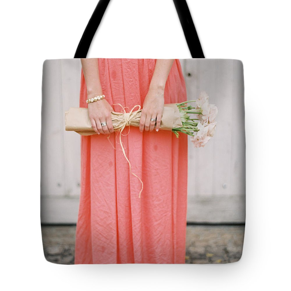 People Tote Bag featuring the photograph Girl With Flowers by Photographed By Victoria Phipps ©
