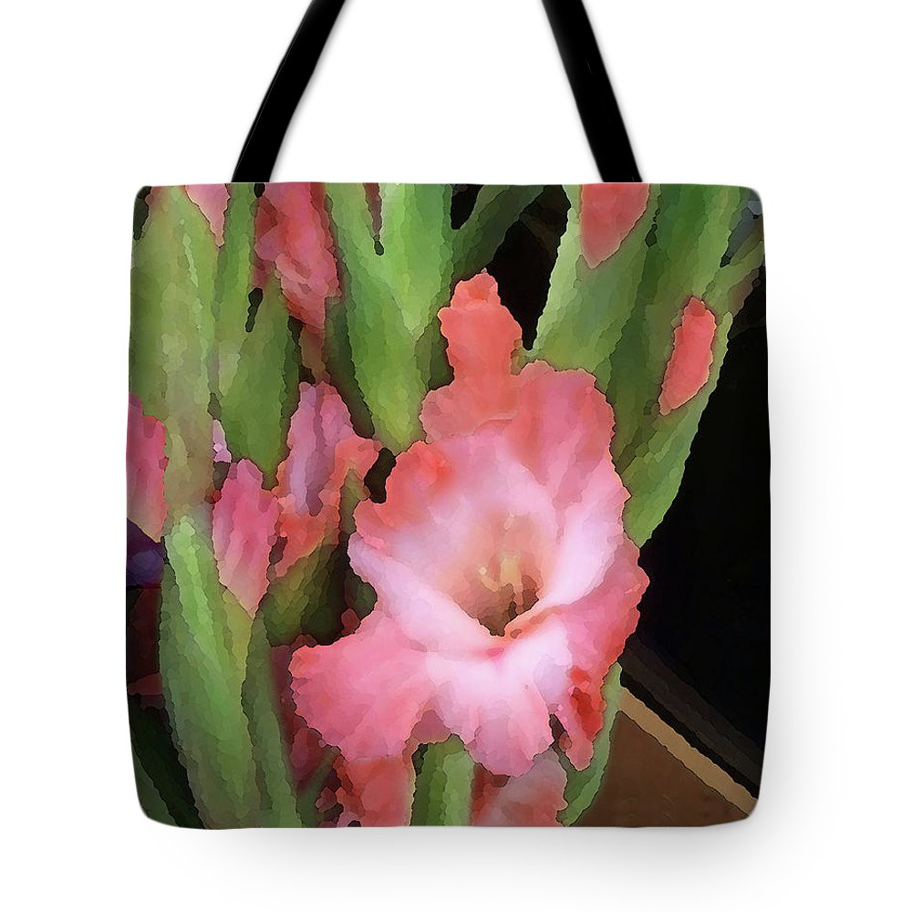 Gladiolas Tote Bag featuring the photograph Gladiolas 2 by Peggy Cooper